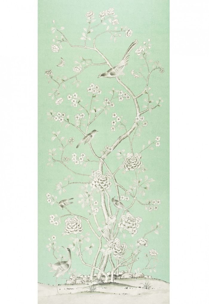 Schumacher Mary McDonald Chinois Palais Aquamarine (Priced and Sold by the 3.75 Yard Full Panel)