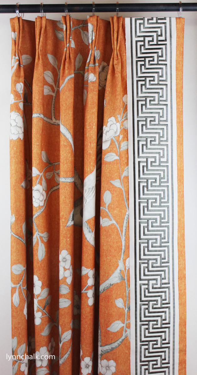 Custom Drapes in Mary McDonald Chinois Palais in Tangerine trimmed with Labyrinth Tape in Dove.