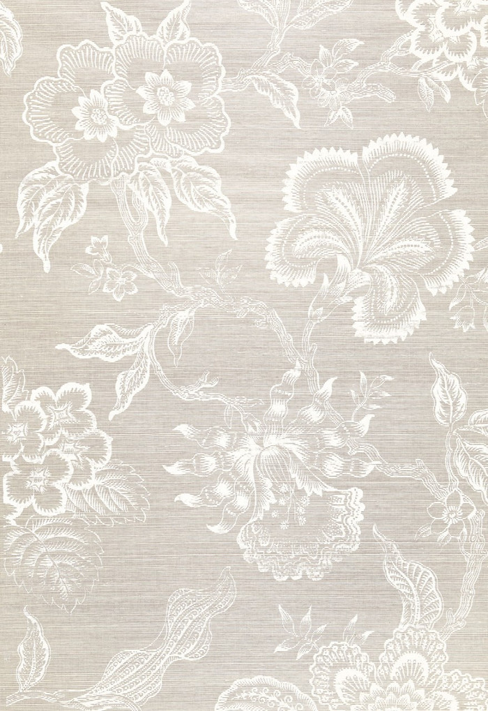Celerie Kemble for Schumacher Hothouse Flowers Sisal Fog & Chalk Wallpaper (Sold & Priced by the Yard. 16 Yard Minimum-6 Week Lead Time)