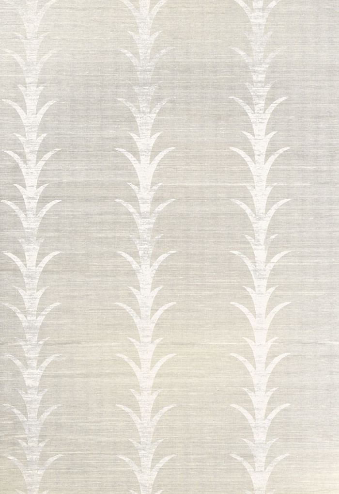 Celerie Kemble for Schumacher Acanthus Stripe Fog & Chalk Wallpaper (Priced and Sold by the Yard. Must order in 8 yard increments.  Minimum Order is 8 yards.)