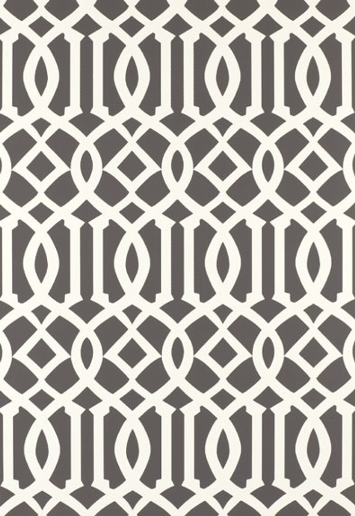 Schumacher Imperial Trellis Charcoal Wallpaper 5003361