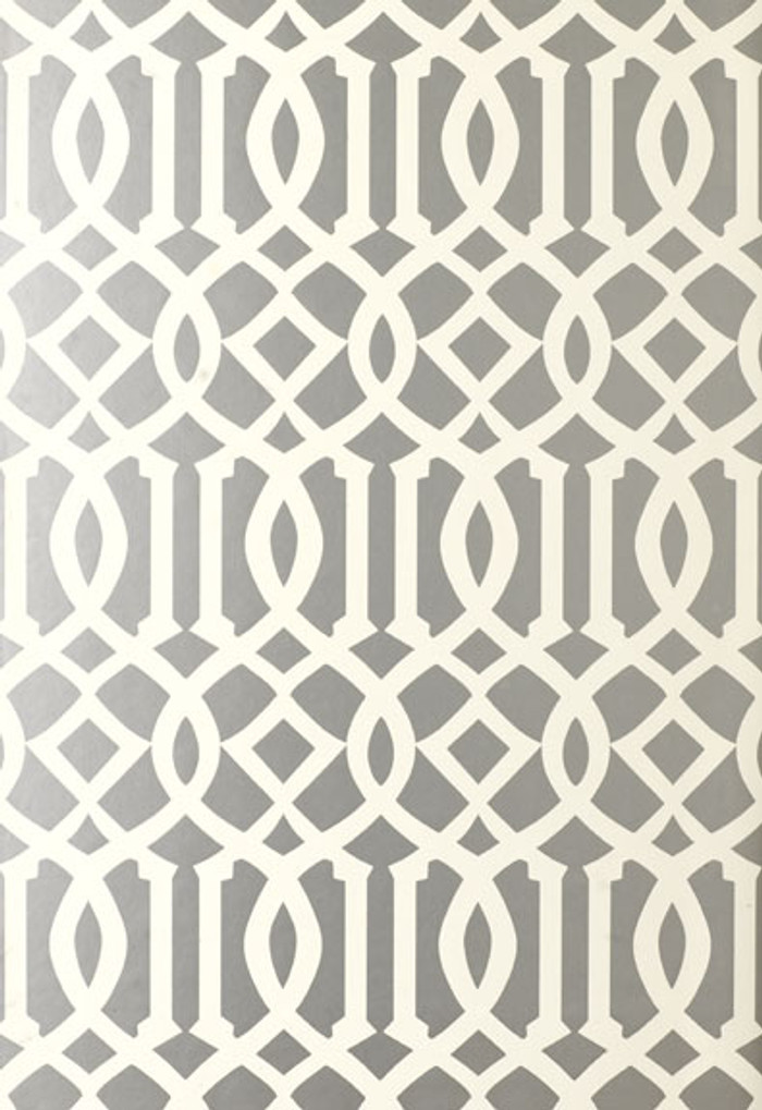 Schumacher Imperial Trellis Silver Wallpaper 5003362