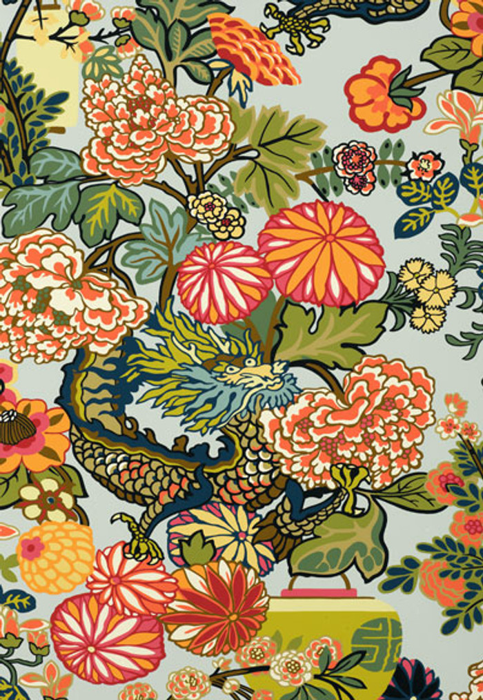 Schumacher Chiang Mai Dragon Aquamarine Wallpaper 5001060 - Priced by the Single Roll - Sold by the Triple Roll