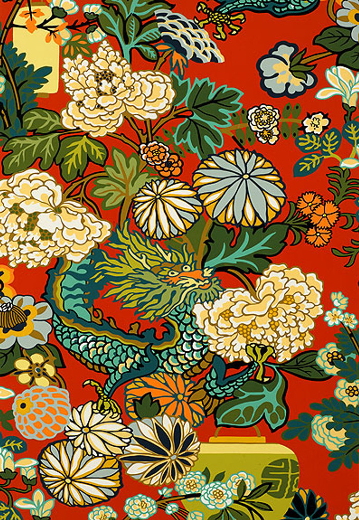 Schumacher Chiang Mai Dragon Lacquer Wallpaper 5001061 - Priced by the Single Roll - Sold by the Triple Roll