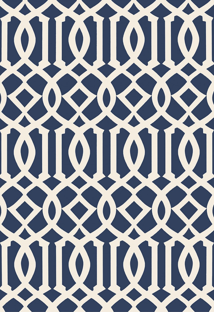 Schumacher Imperial Trellis II Ivory/Navy Wallpaper 5005801