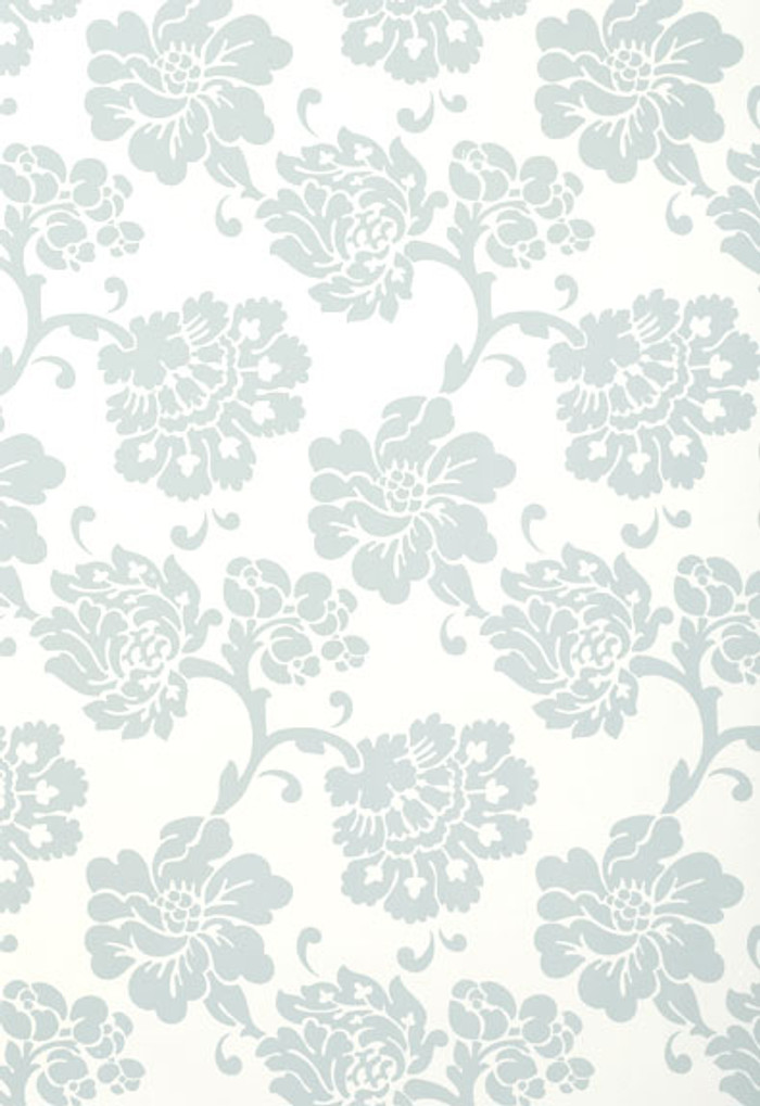Schumacher Wallcovering Albero Floreale in Aqua