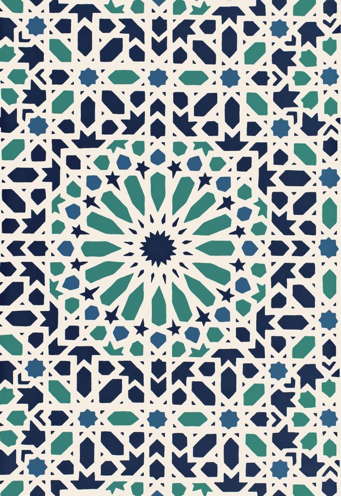 Schumacher Nasrid Palace Mosaic Wallpaper Aegean 5005960