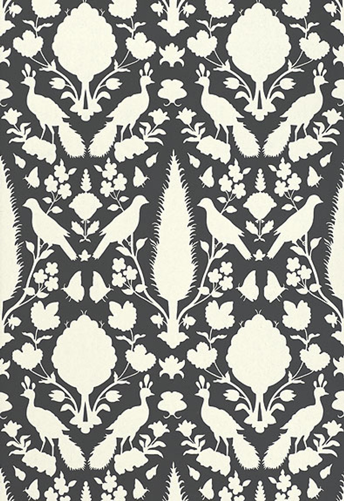 Schumacher Chenonceau Wallpaper Charcoal  5004123