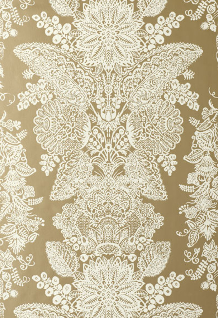 Schumacher Lace Wallpaper Champagne 5003321