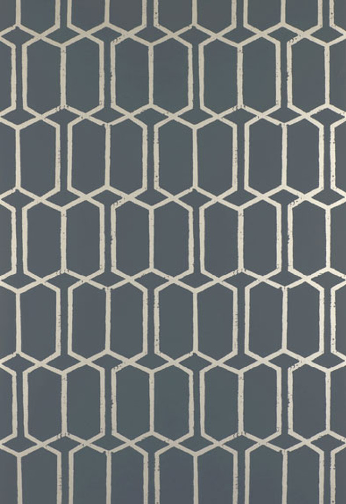 Schumacher Modern Trellis Wallpaper Charcoal Metallic 5003281 (Priced by the Single Roll. Sold by the Triple Roll.  Must order in increments of 3 rolls)