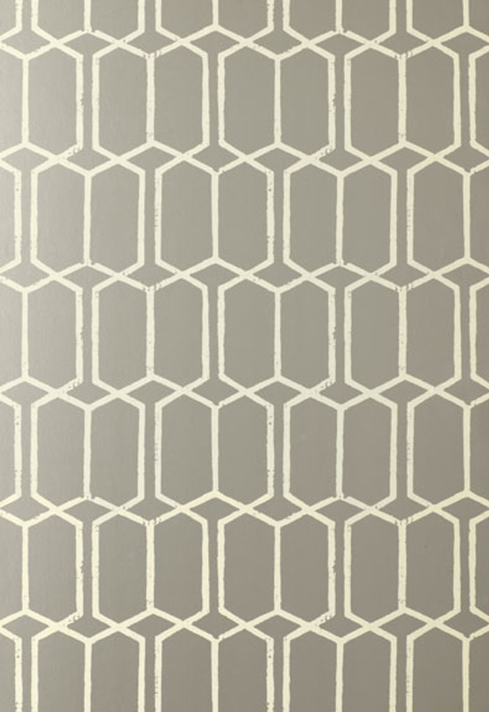 Schumacher Modern Trellis Wallpaper Silver 5003282 (Priced by the Single Roll, Sold by the Triple Roll.  Must order in Increments of 3)