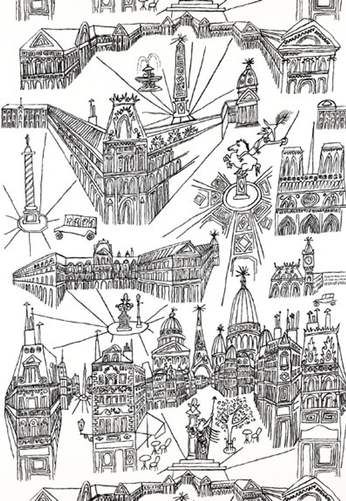 Schumacher Views of Paris Wallpaper Black on White 2705780 - 2 Roll Minimum Order