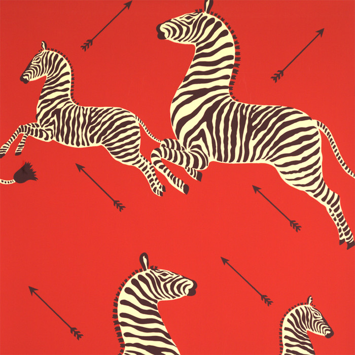 Scalamandre Zebras Wallpaper Masai Red - 2 Roll Minimum Order