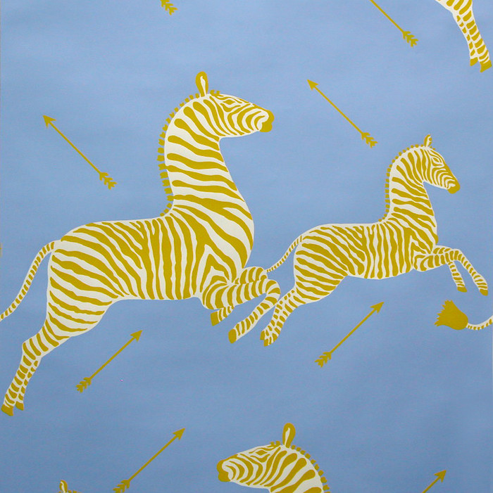 Scalamandre Zebras Wallpaper Periwinkle Blue - 2 Roll Minimum Order