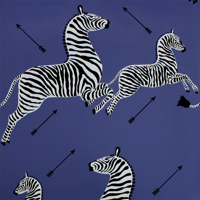 Scalamandre Zebras Wallpaper Denim - 2 Roll Minimum Order
