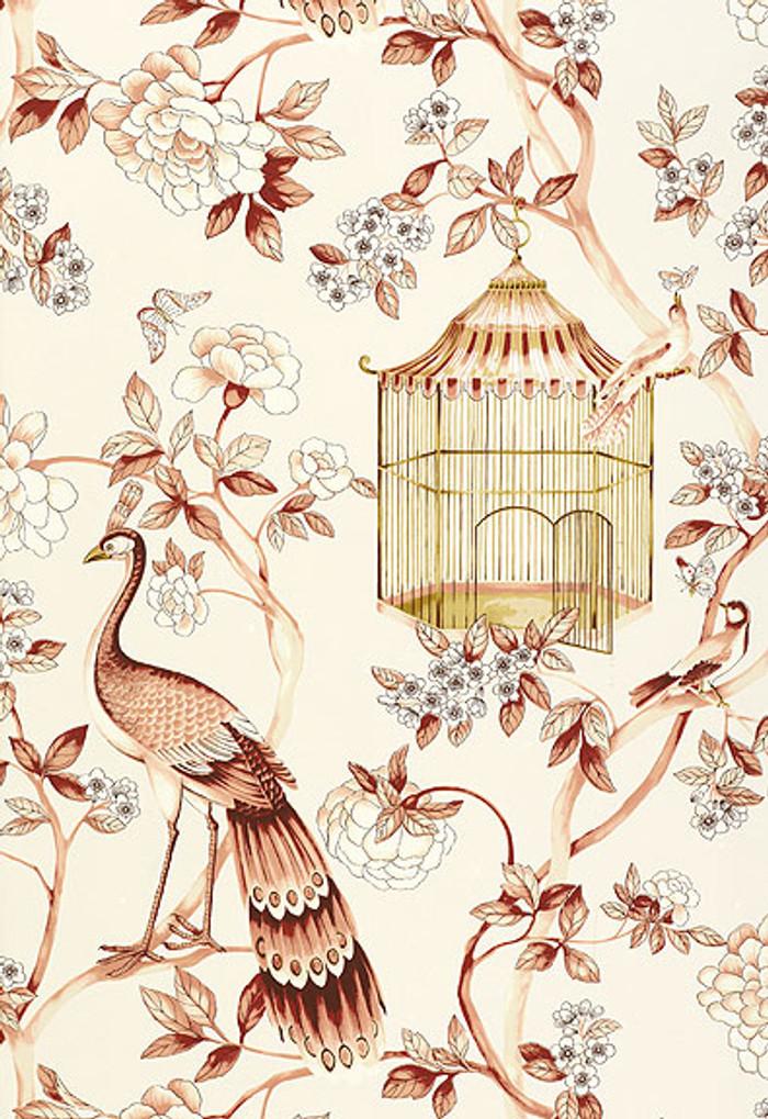 Schumacher Wallpaper Oiseaux et Fleurs Cinnabar 5004082