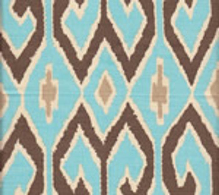 Quadrille Aquarius Turquoise/Brown with Beige on Cream
