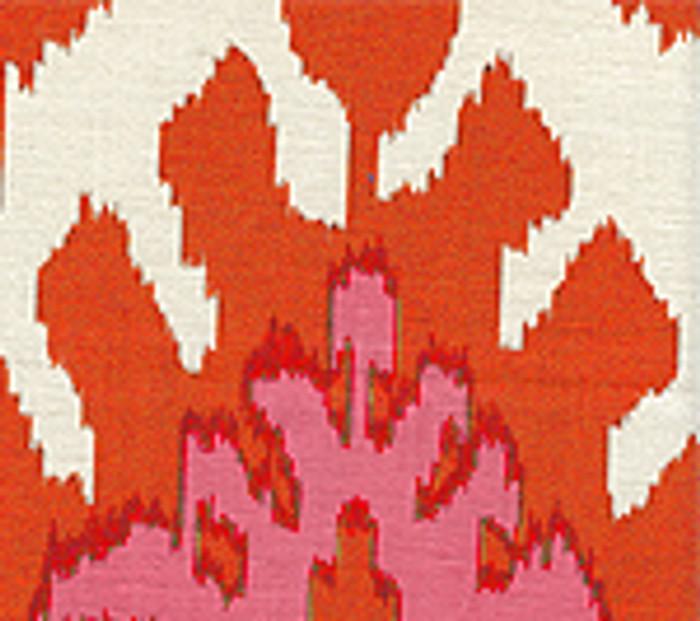 Quadrille Kazak Orange-Pale Magenta on Suncloth (Indoor/Outdoor fabric)