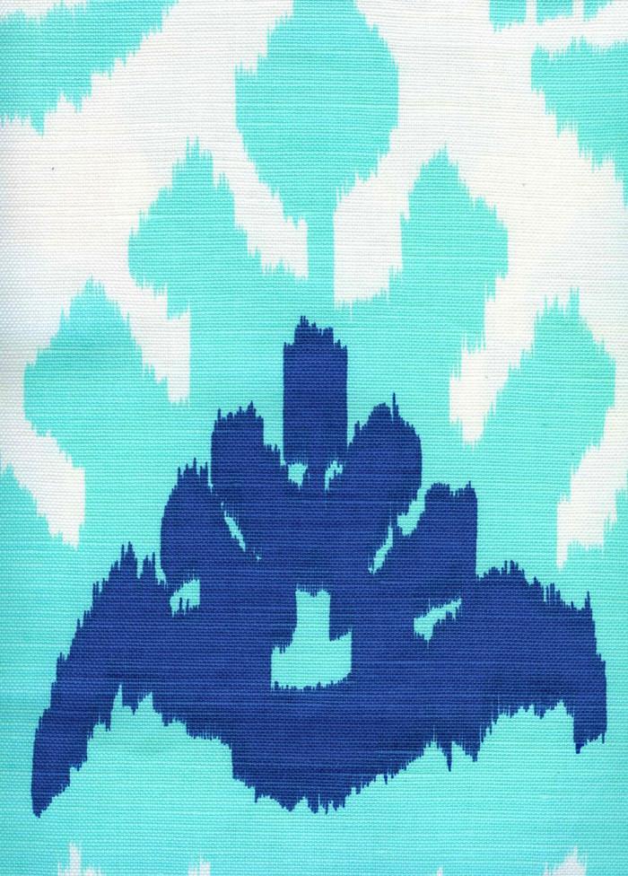 Quadrille Kazak Royal Blue on Suncloth (Indoor/Outdoor fabric)