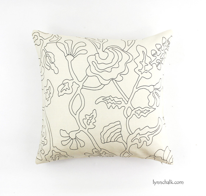 "ON SALE Quadrille Alan Campbell Potalla Outline Black on Tint 21"" Pillow Cover (Both Sides) Only 1 Remaining"