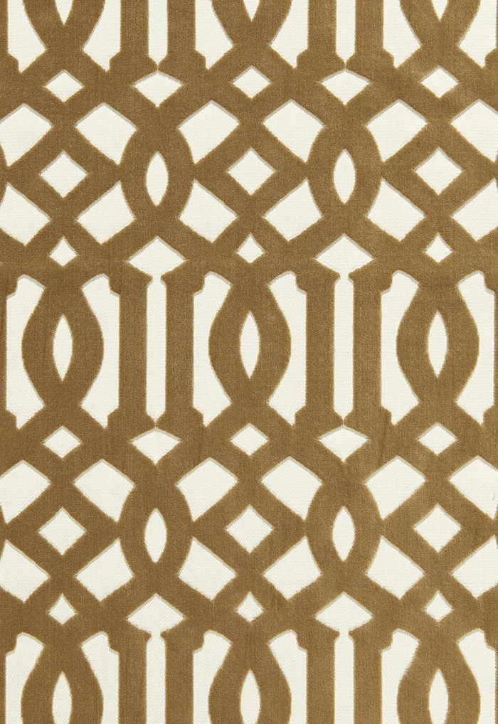 65594 Schumacher Kelly Wearstler Fabric Imperial Trellis Velvet Fawn