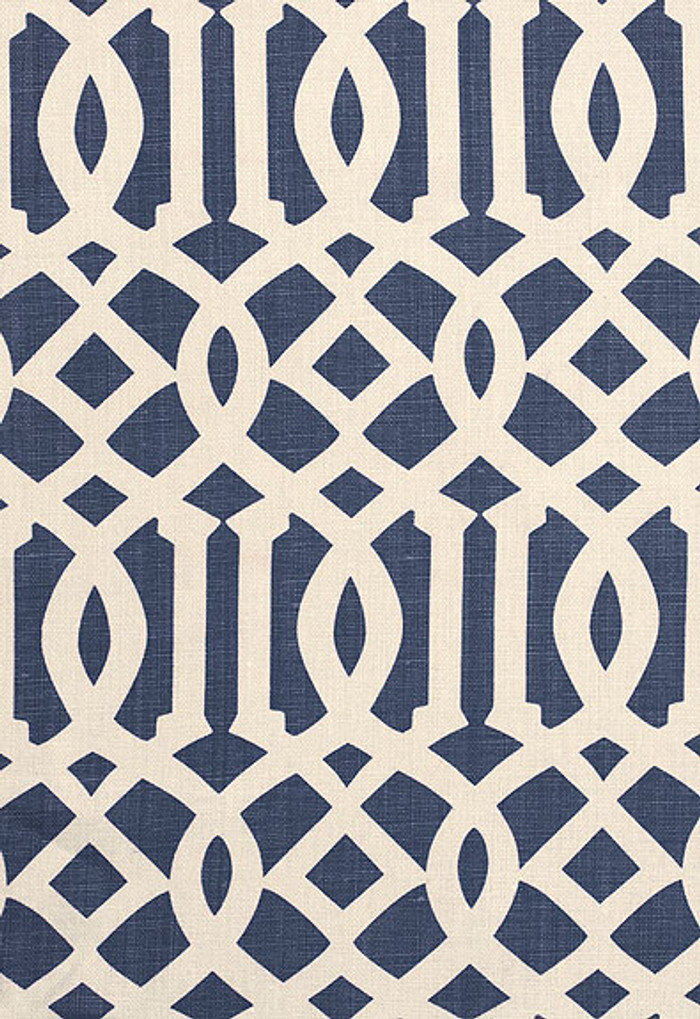 174411 Schumacher Fabric Imperial Trellis II Navy