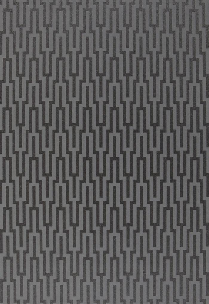 Schumacher Metropolitan Fret Wallpaper Black Pearl 5005895