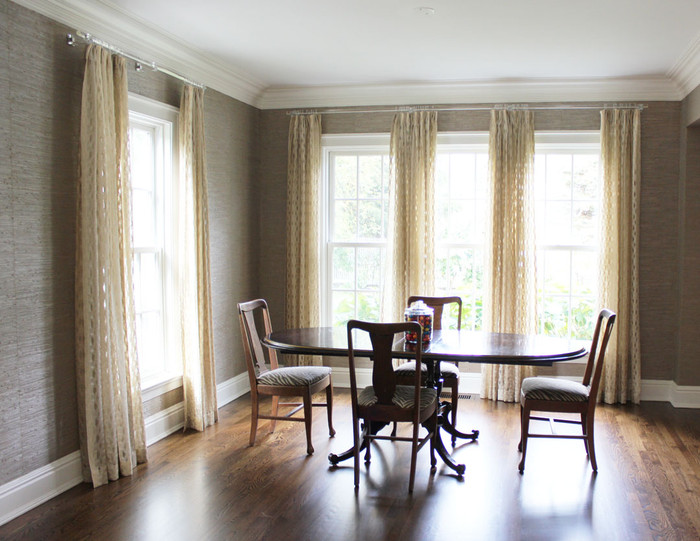 Custom Drapes by Lynn Chalk in Isis Ombre in Creme.  Ombre stripe was used vertically instead of horizontally to create a beautiful subtle vertical stripe that flows harmoniously through out the room.