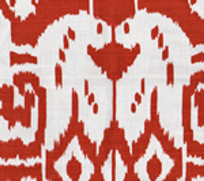 Quadrille China Seas Island Ikat Dark Red on White