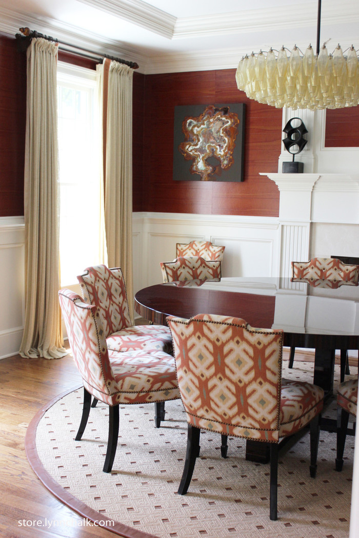 Dining Room - Custom Pleated Drapes by Lynn Chalk with Samuel  & Sons Trim