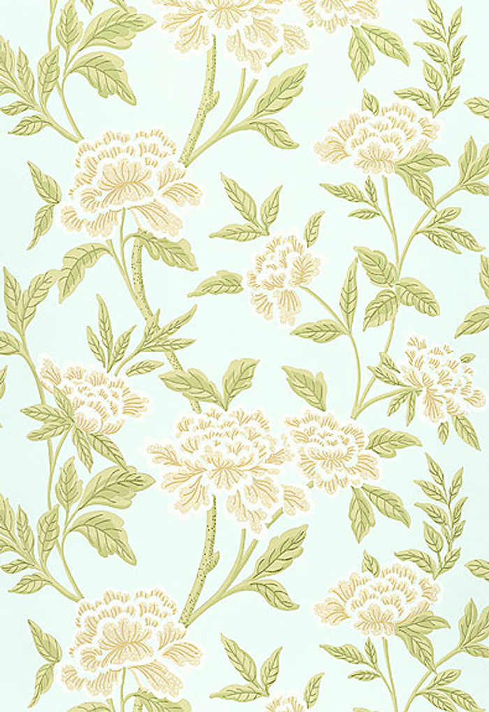 Schumacher Whitney Floral Wallpaper in Aqua
