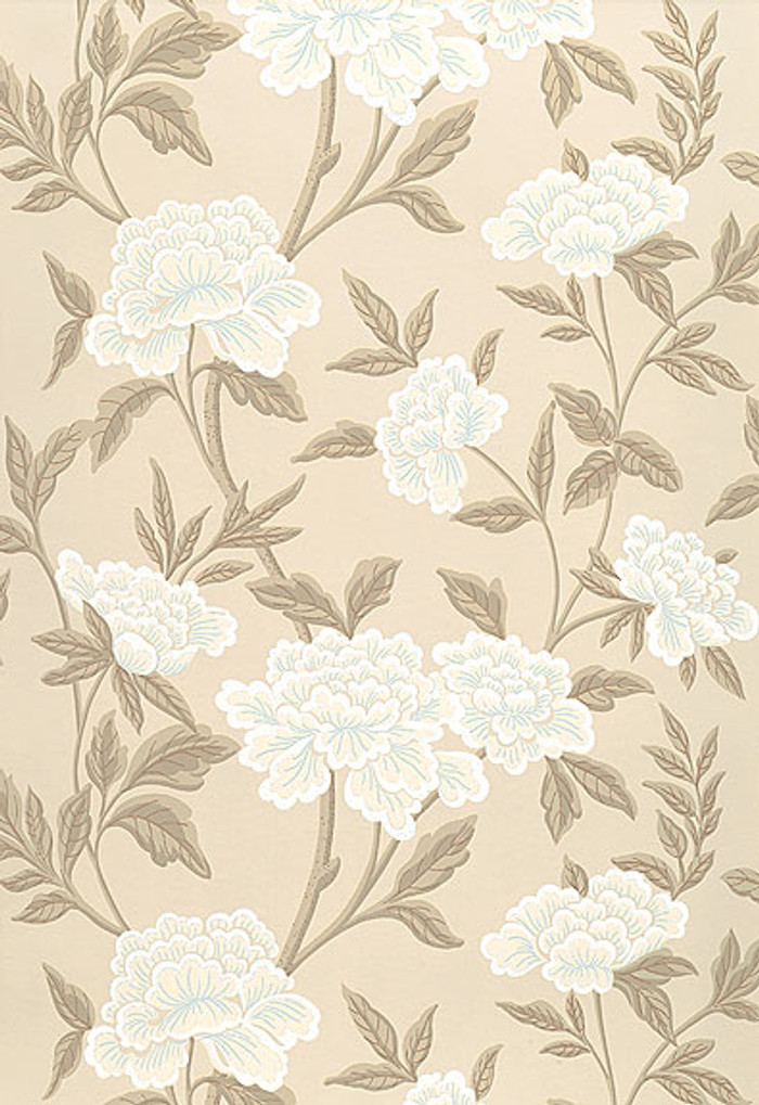 Schumacher Whitney Floral Wallpaper in Taupe