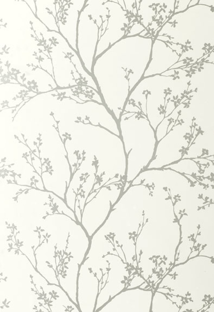 Schumacher Twiggy Wallpaper in Silver 5003340