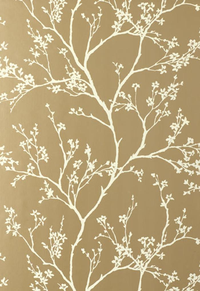 Schumacher Twiggy Wallpaper in Champagne 5003341