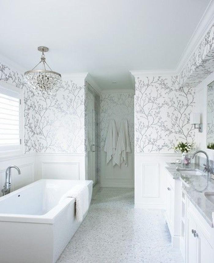 Bathroom Wallpaper Schumacher Twiggy in Silver (Jennifer Worts Design)