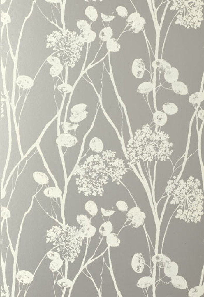 Schumacher Moonpennies Wallpaper in Silver