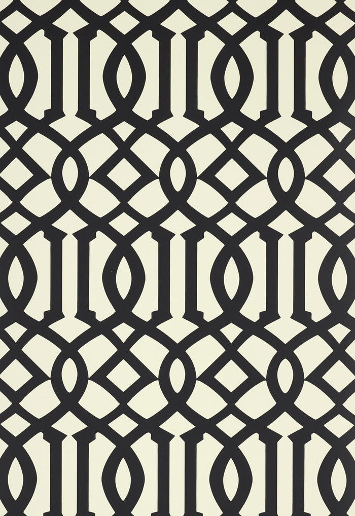 Schumacher Imperial Trellis II Jet Wallpaper 5005804