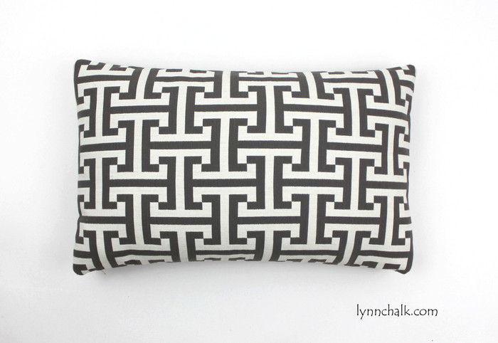 "Custom Pillow in Holly Hunt Insigna Cream/Iron 124/03 (12"" X 20"")"
