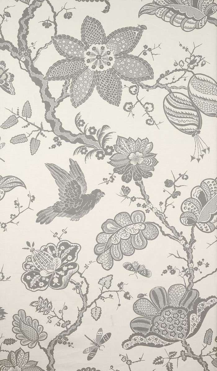 Schumacher Bali Vine Charcoal Fabric 174371 (Sold by 2.39 Yard Panel)