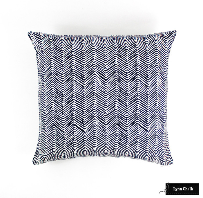 Quadrille Petite Zig Zag Navy on White Pillow (22 X 22)