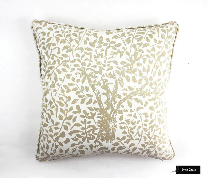 Custom Pillow by Lynn Chalk in Arbre De Matisse Reverse Ecru on Tint with self welting (20 X 20)