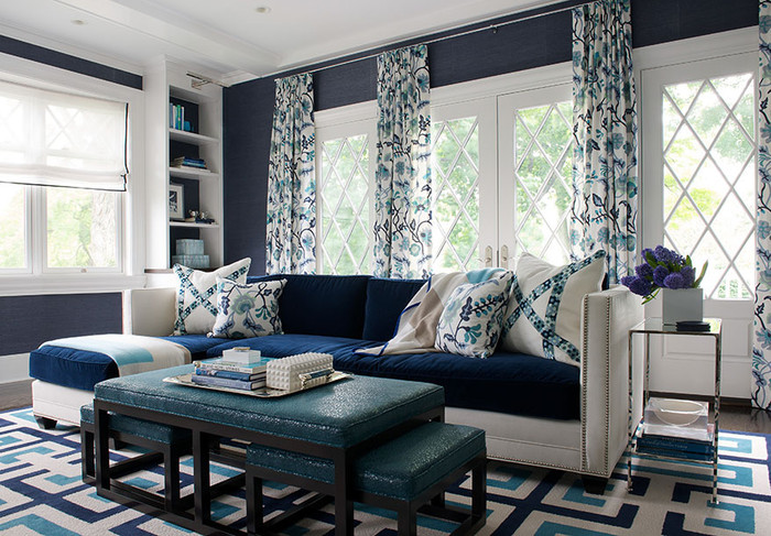 Pillows and Drapes in Potalla in Multi Blues (Designer Laura Tutun)