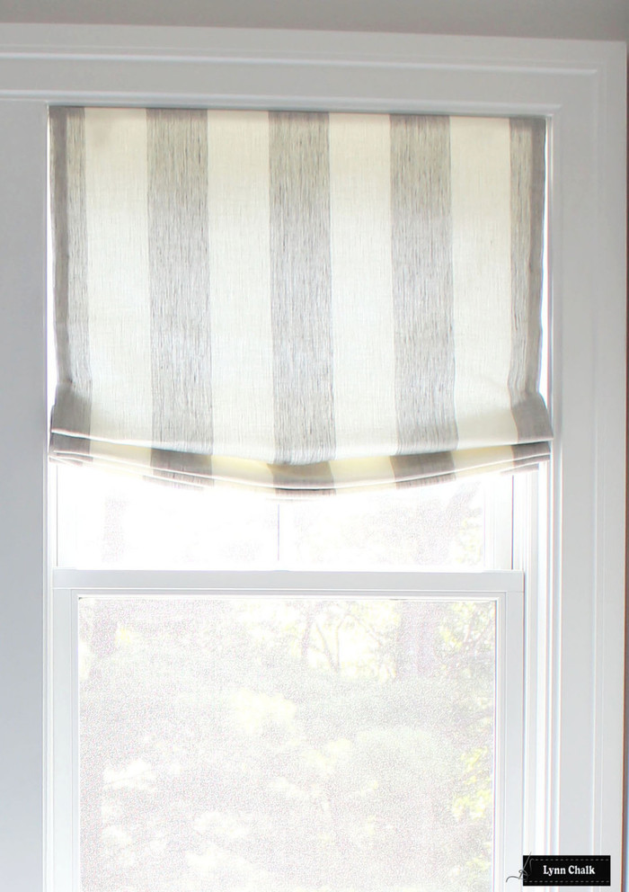 Robert Allen Perfect Match Semi-Sheer Linen Roman Shade (shown in Smoke-comes in several colors)