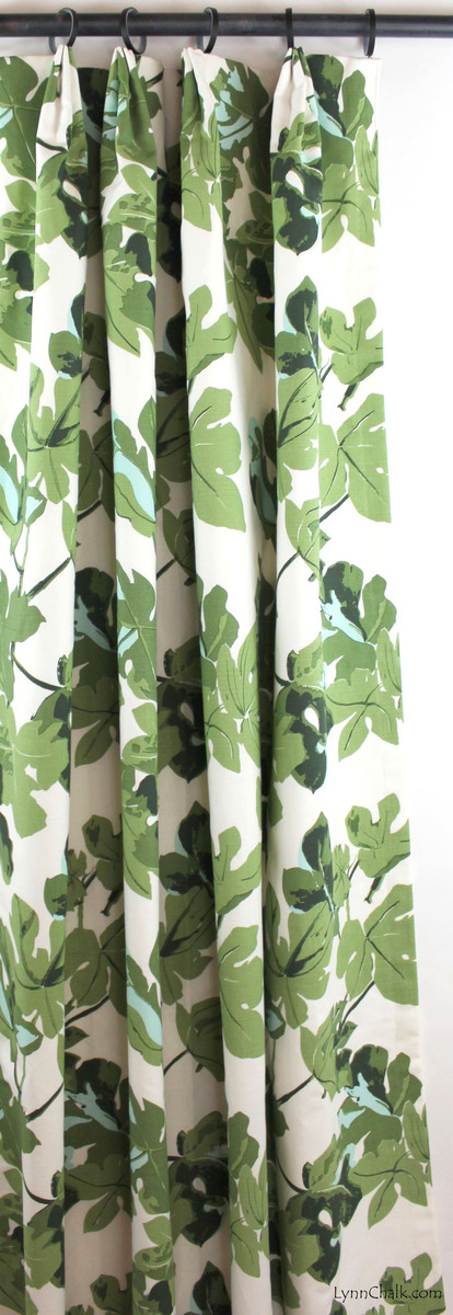 Peter Dunham Fig Leaf Custom Drapes (shown in Original on White)