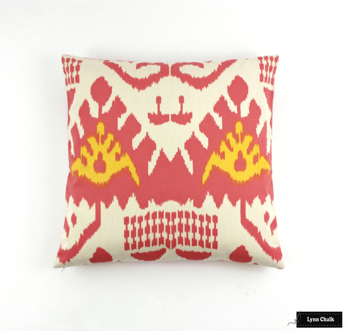 ON SALE Quadrille Kazak Custom Pillow in Coral/New Yellow on Suncloth 22 X 22