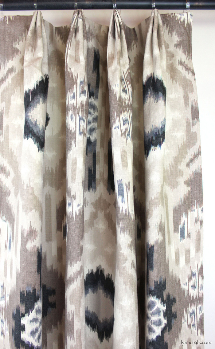 Custom Fan Pleated Drapes in Kiribati Ikat in Linen