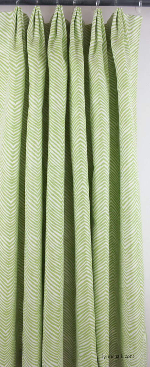 Fan Pleated Drapes in Quadrille Alan Campbell Petite Zig Zag (Custom Color Jungle Green on White)
