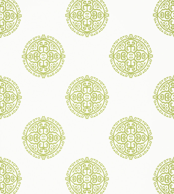 Thibaut Enchantment Wallpapers- Halie Circle Green T36171