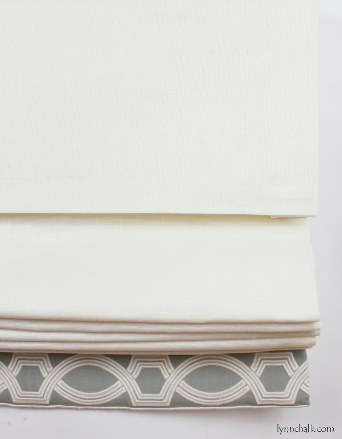 """Roman Shade with 10"""" Self Valance in Trend 01838T 07 with Samuel & Sons 977 56199 Trim."""