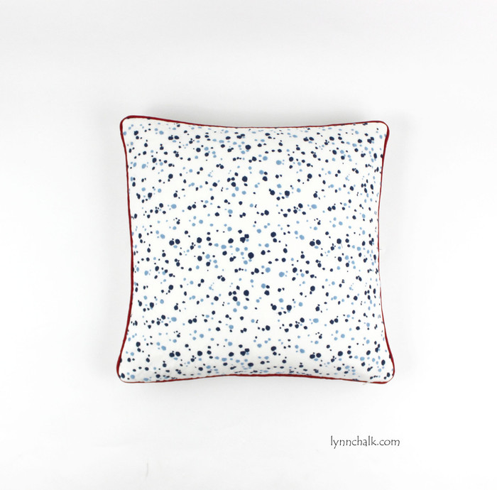 Pillow in Lulu DK Skittles in Blueberry/Sky with contrasting welting in Robert Allen Lustre Sheen in Lacquer Red
